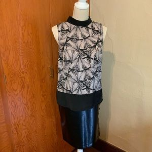 KENNETH COLE sleeveless blouse front graphic front